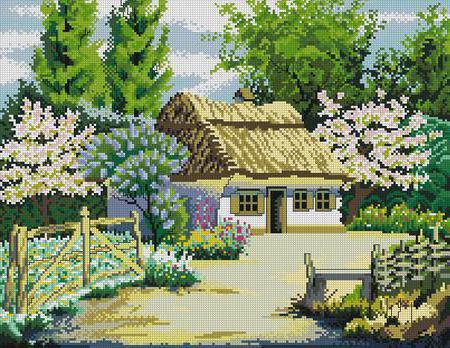 Домик в деревне, картина,