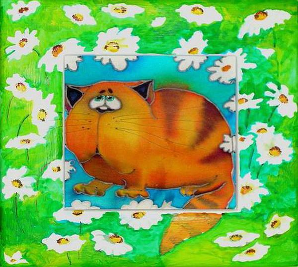 Подушка Кошка и ромашки,