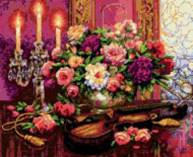 Скрипка, розы и свечи,