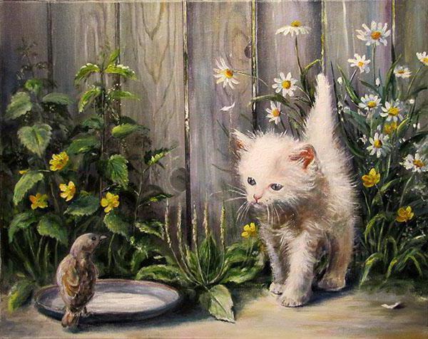 Котенок и воробей, живопись,