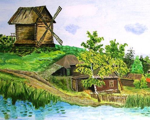 Пейзаж с сельской мельницей,