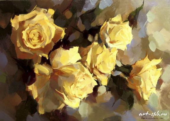 схеме вышивки. Желтые розы