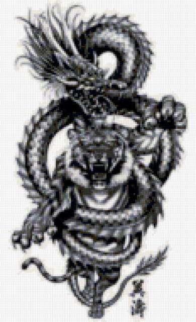 тигр, дракон, черно-белые