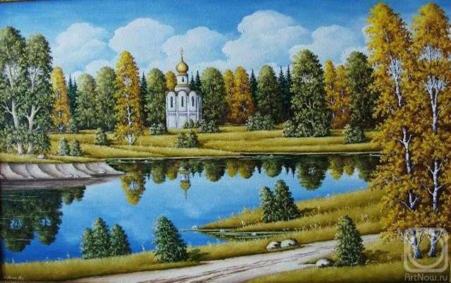 Храм у озера, осень, озеро,