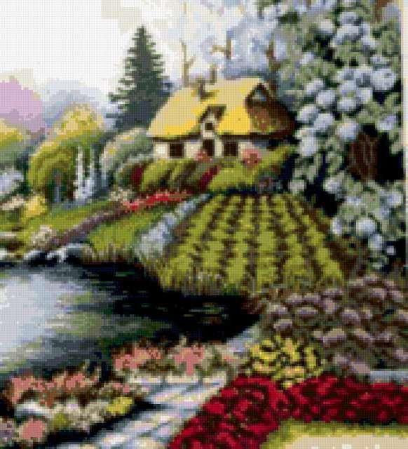 Красивый пейзаж с домиком,