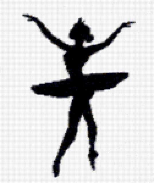 черно-белое, танец, силует