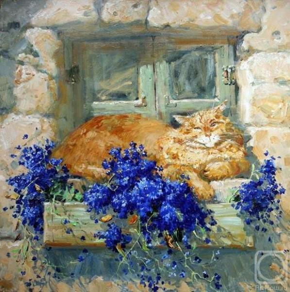 Кошка на окошке х-к М.Павлова