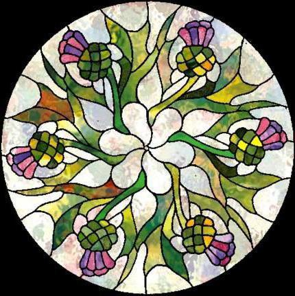 Цветочный орнамент в круге,