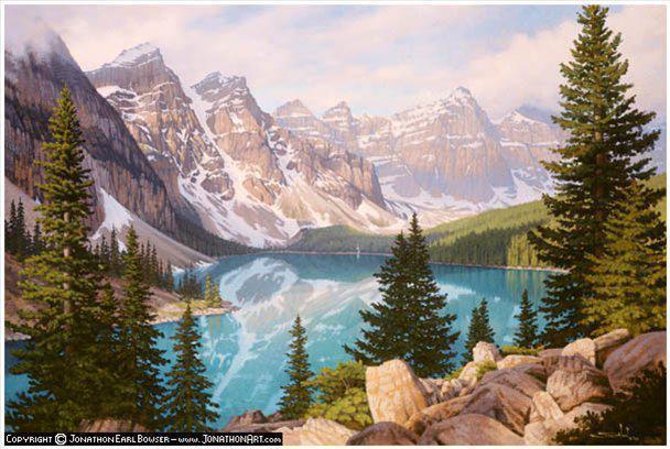 Озеро в горах, живопись,