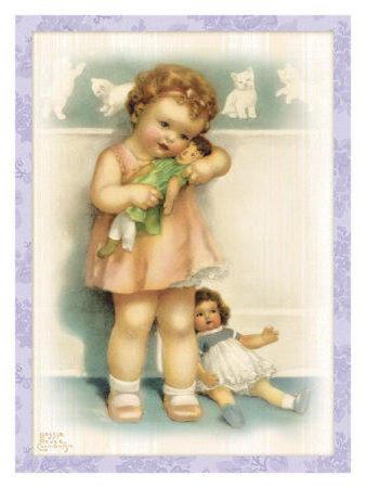Девочка и куклы - винтаж,