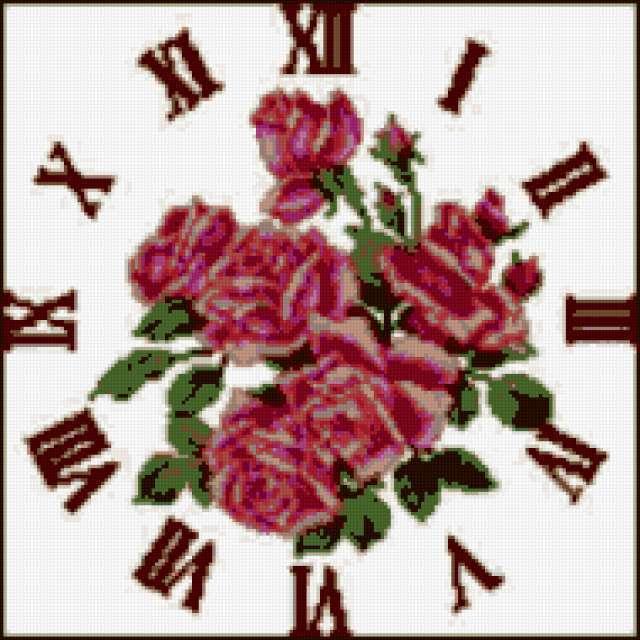 К схеме вышивки «Часы розы»