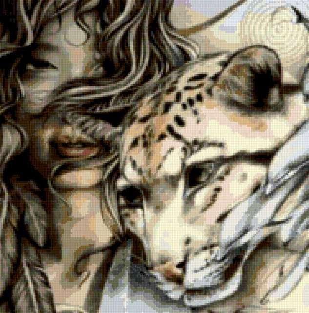Девушка и ягуар, девушка,