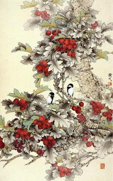 Цветы и птицы, картина, птицы,