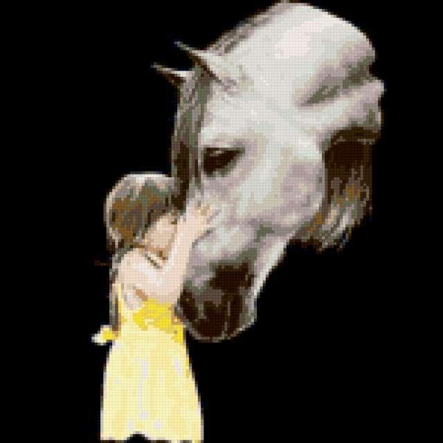Девочка с лошадью, набор для вышивки, арт. СВ-016 Золотое 37