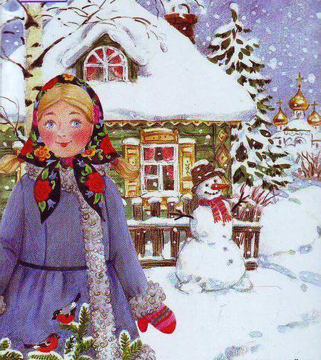 Алёнушка, зимняя картина