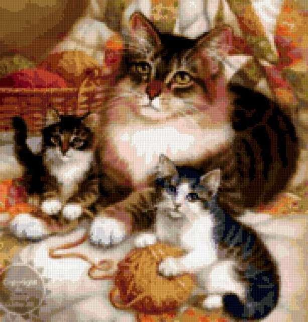 Предпросмотр - Схема вышивки «Кошка с котятами» - Автор ...