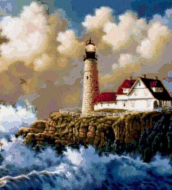 Морской пейзаж с маяком,