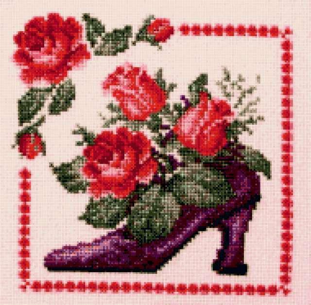 Туфельки цветы схема вышивки