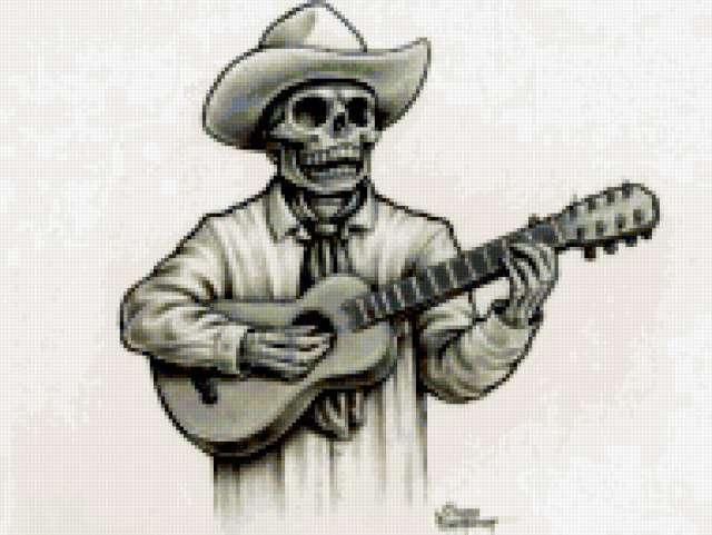 Скелет с гитарой, предпросмотр