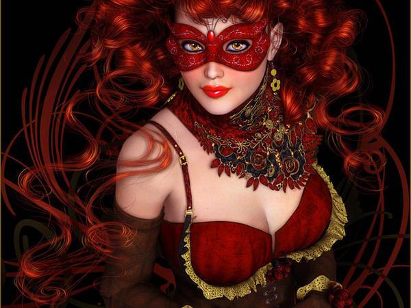 Фото рыжие девушки в маске