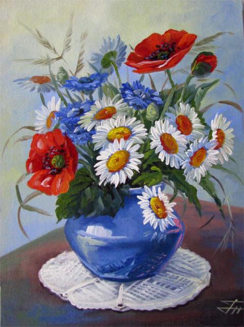 Полевые цветы в вазе, оригинал