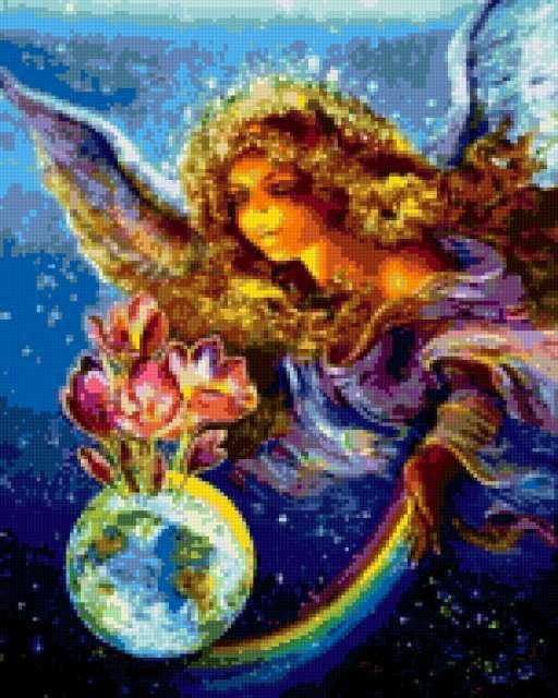 ангел, крылья, земной шар,