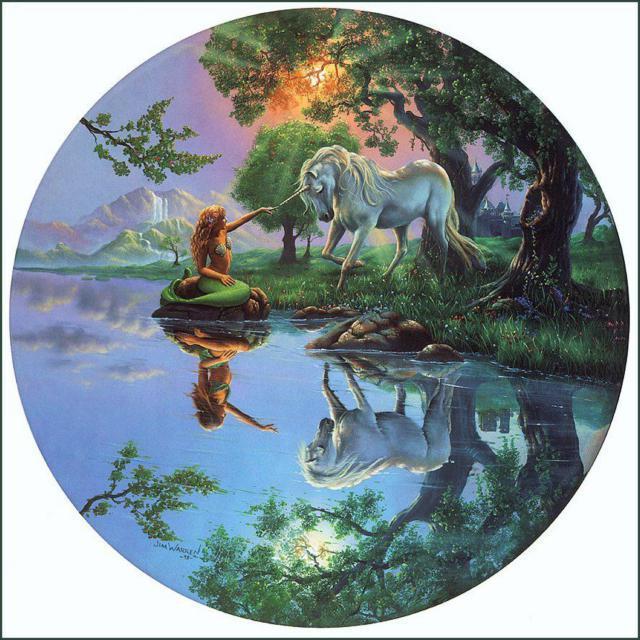 Круглые картинки, река, пейзаж