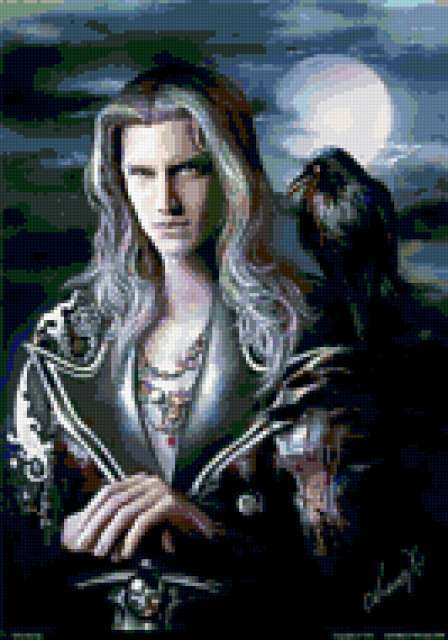Мужчина и ворон, предпросмотр