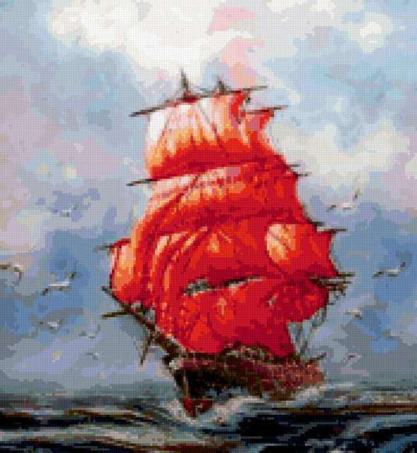 Алые паруса, море, прибой,