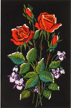 Розы и фиалки, розы, роза,