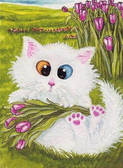 Белый кот и тюльпаны, оригинал