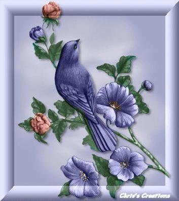 Вышивка синяя птица