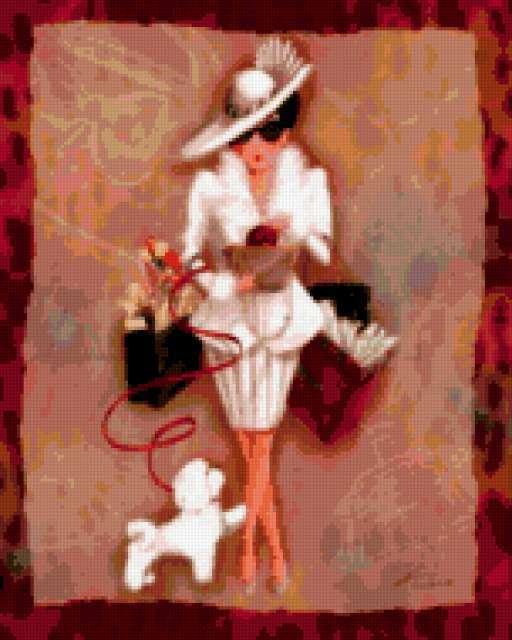 Дама с собачкой, живопись,