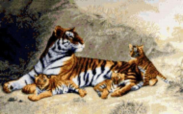Тигр с тигрятами)))