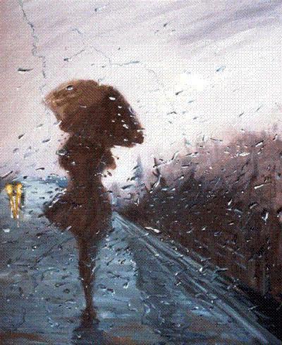 картинка девушка под дождем