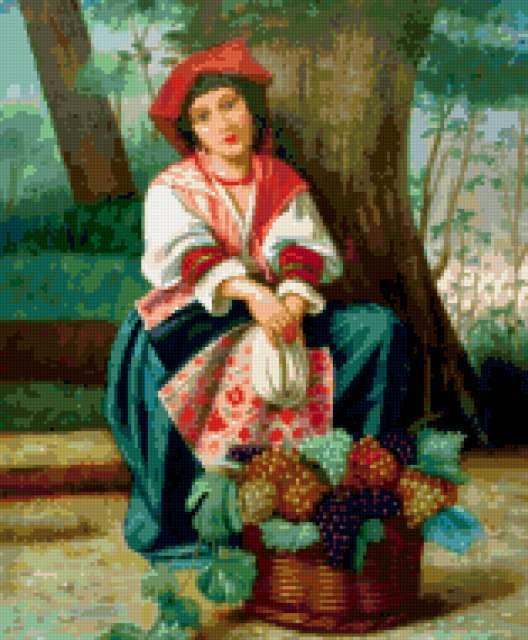 Виноградница, дама, картина