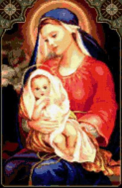 Вышивка крестом мария с младенцем 73