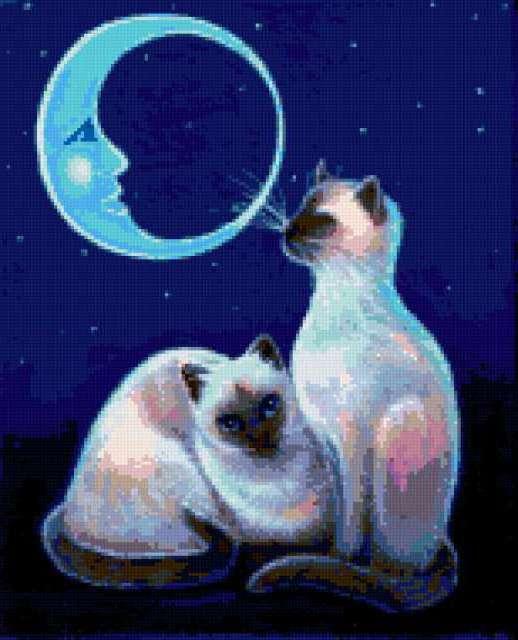 Кошки и месяц, предпросмотр