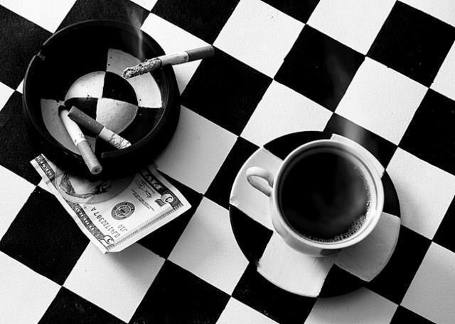 чашка, сигарета, доллар,