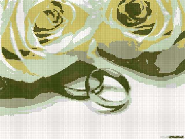 Обручальные кольца и розы,