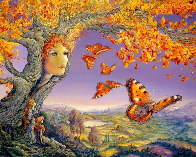 Дерево, девушка, бабочки
