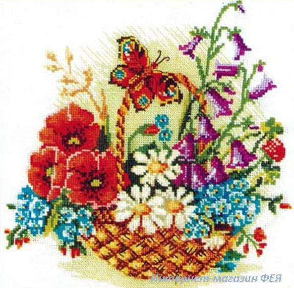 Корзина полевых цветов, маки,