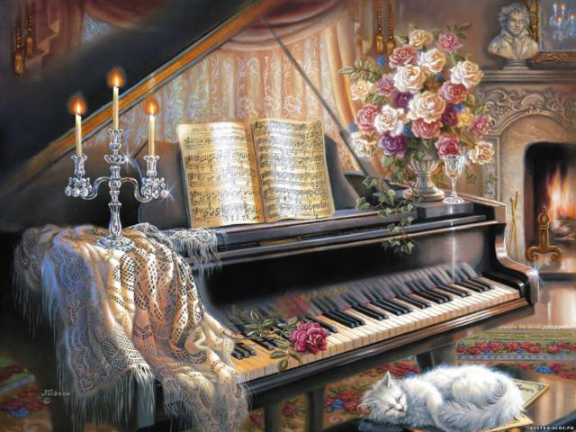 Пианино, вечер, свечи, кошка,