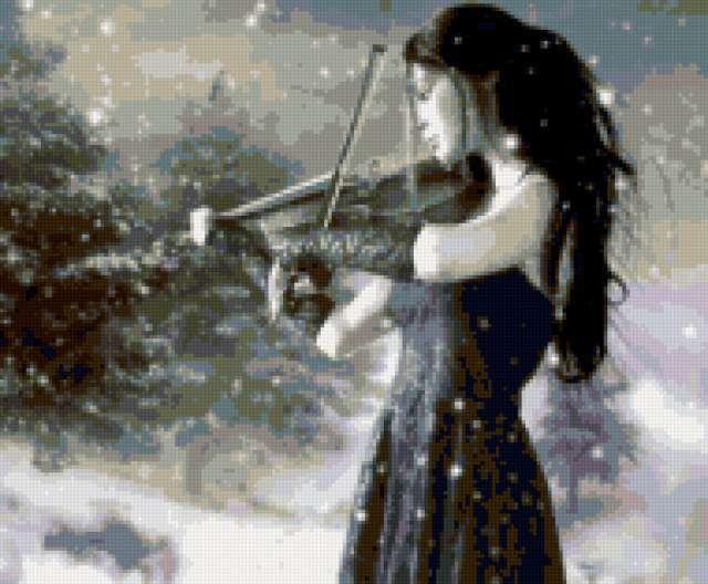 Скрипачка в снегу