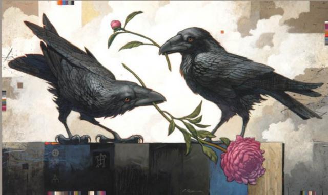 Вороны, живопись, городские