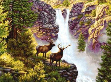 Олени у водопада, оригинал