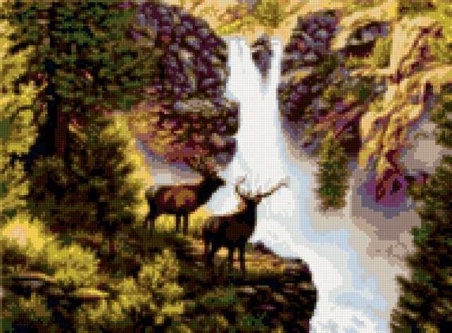 Олени у водопада, предпросмотр