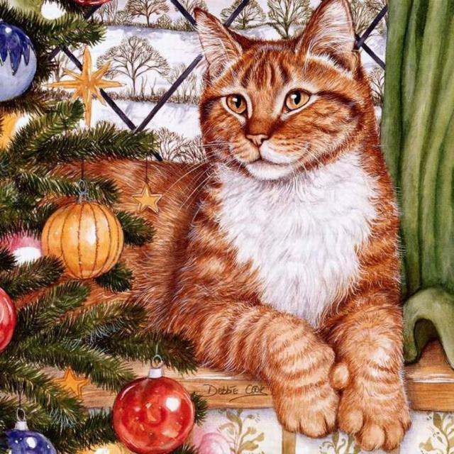 Рыжий кот и елка, оригинал