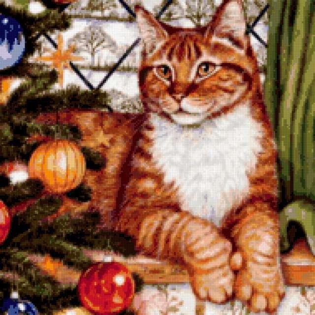 Рыжий кот и елка, предпросмотр