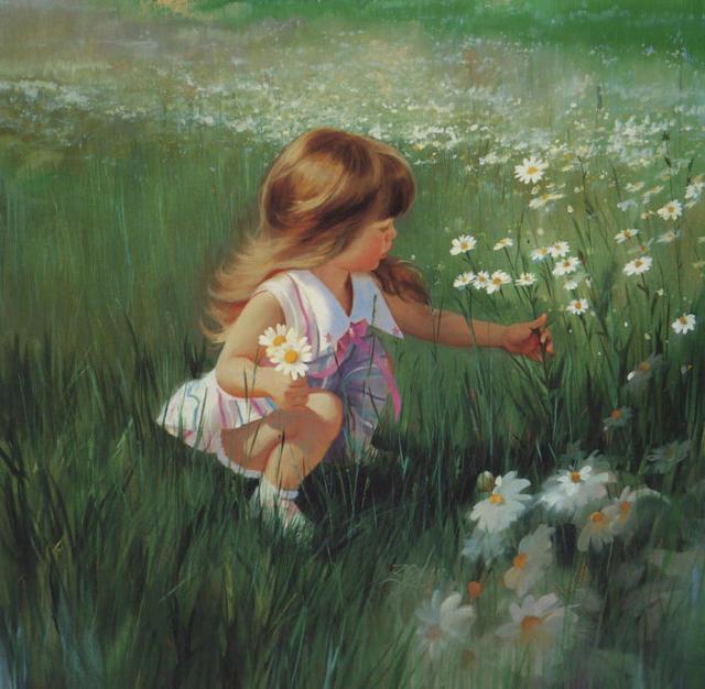 Девочка на ромашковом поле,